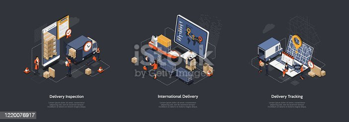 Isometric 3d International Worldwide Delivery And Global Logistics. Work Staff Process an Many Orders Of Delivery of a Large Consignment Maritime, Land And Railway Transport. Vector Illustrations Set.