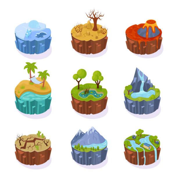 bildbanksillustrationer, clip art samt tecknat material och ikoner med isometrisk 3d öar, för spelet, med landskap av jorden. - ö
