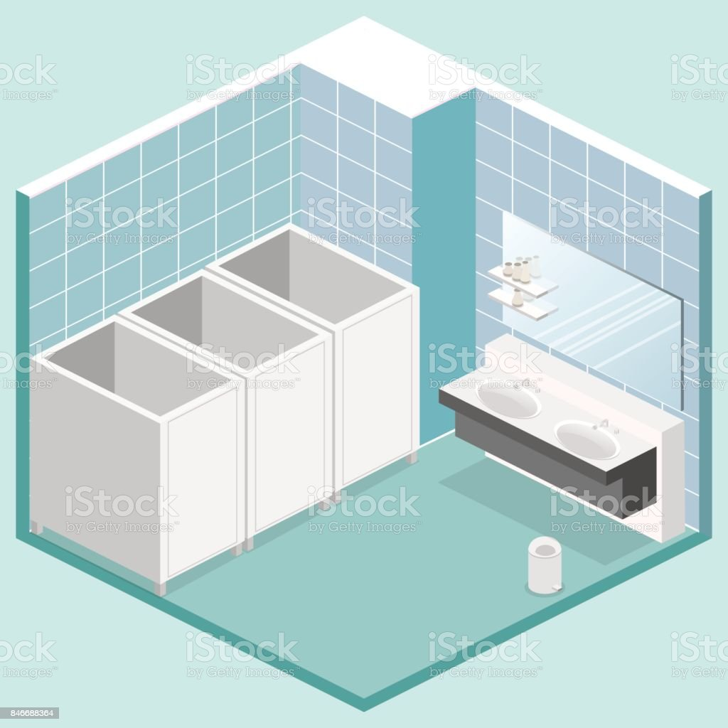 Isometric 3D Isolated Vector Cutaway Interior Of Public Toilet Royalty Free  Isometric 3d Isolated Vector