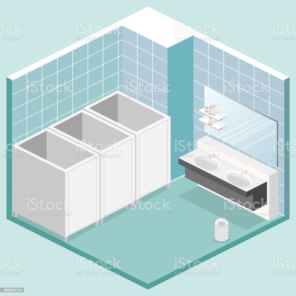 Isometric 3d Isolated Vector Cutaway Interior Of Public Toilet Stock
