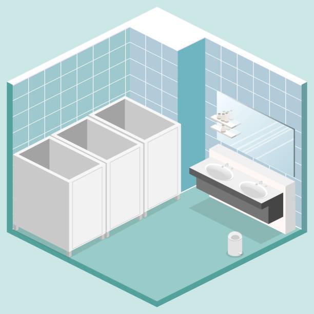 isometrische isoliert 3d-vektor cutaway interieur der öffentlichen toilette - spiegelfliesen stock-grafiken, -clipart, -cartoons und -symbole