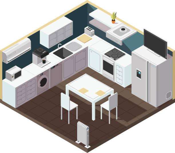 isometrischen 3d küche interieur mit haushaltsgeräte, geräte und möbel vektor-illustration - waschküchendekorationen stock-grafiken, -clipart, -cartoons und -symbole