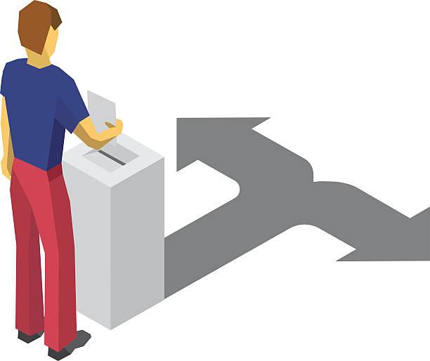 ilustrações de stock, clip art, desenhos animados e ícones de isometric 3d man put paper in election box. choice concept. - box separate life