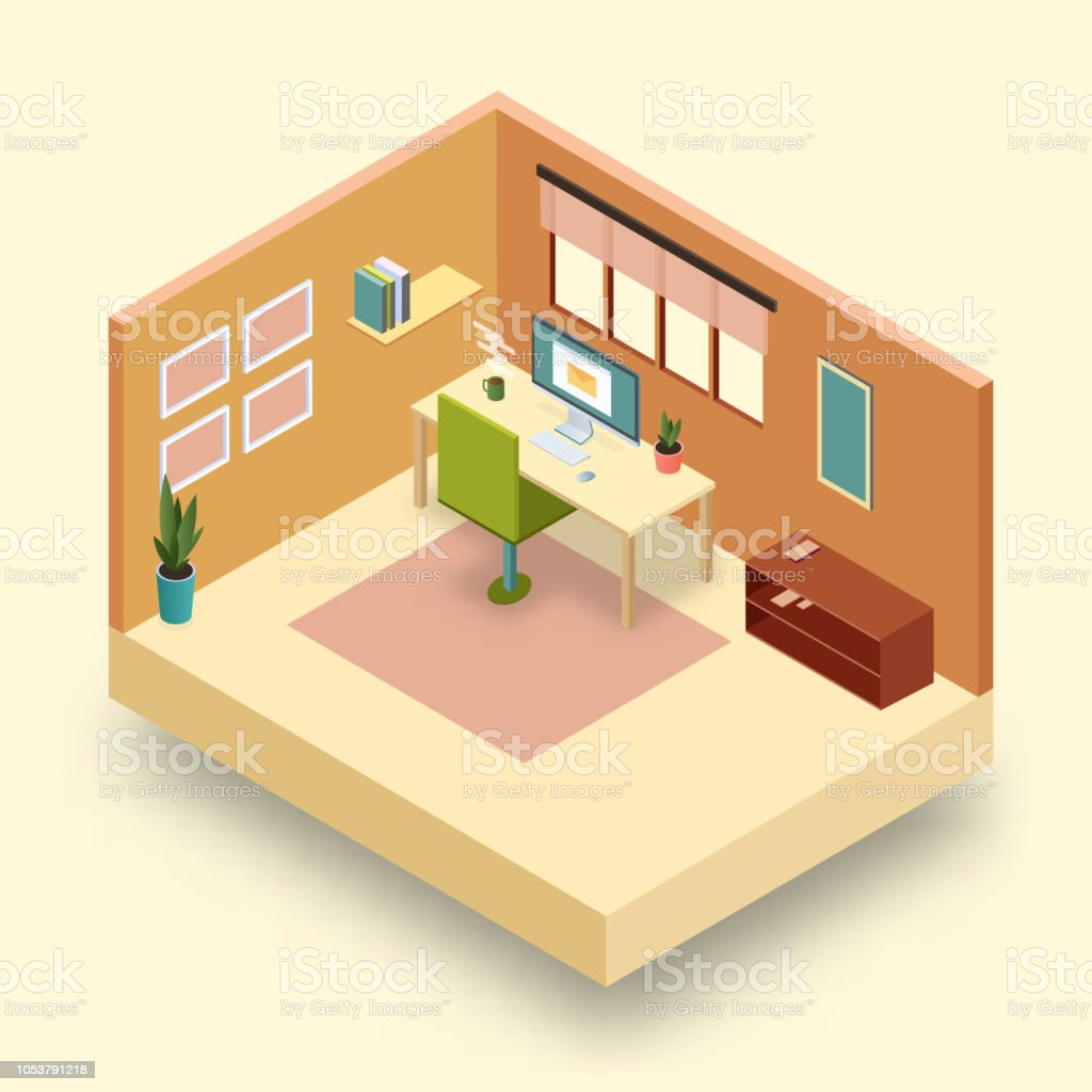 Isometric 3d Model Of Office Or Home Workplace With Desk