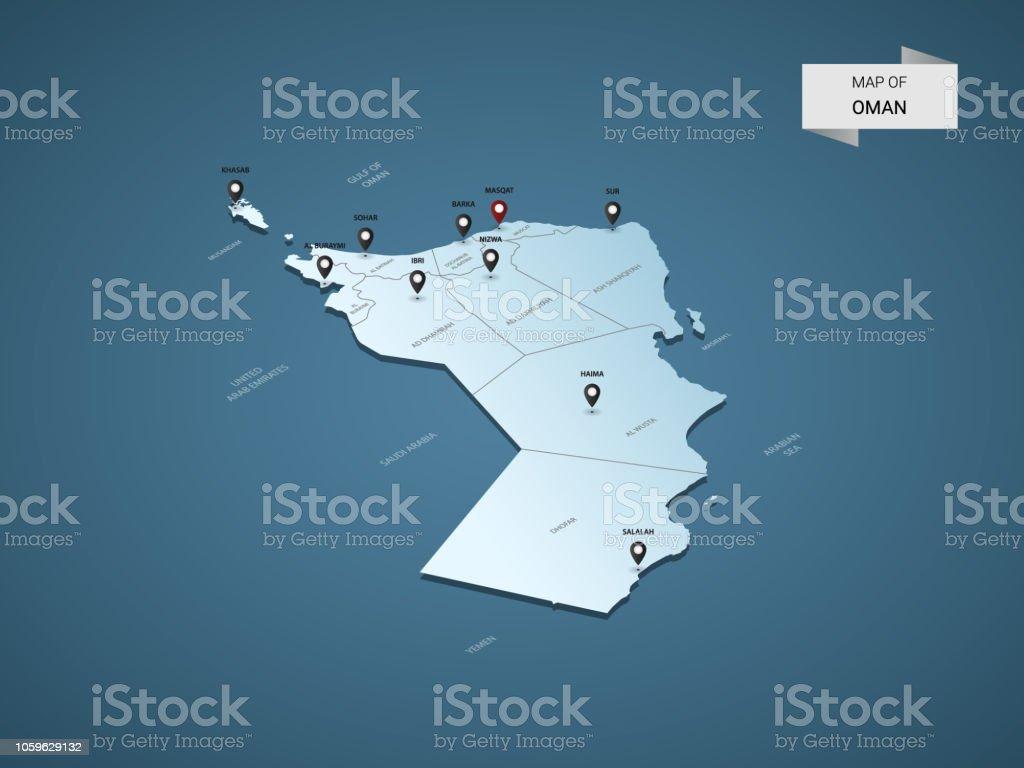Karte Oman.Isometrischen 3d Oman Vektor Karte Konzept Stock Vektor Art Und Mehr