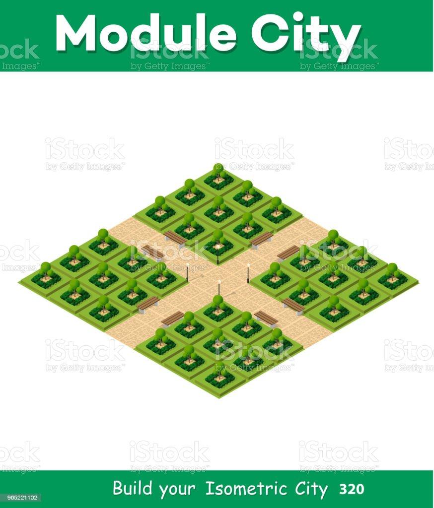 Isometric 3d park with a green isometric 3d park with a green - stockowe grafiki wektorowe i więcej obrazów architektura royalty-free