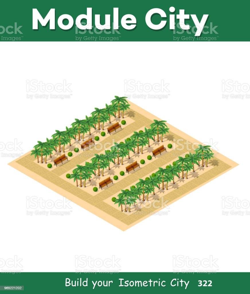 Isometric 3d park with a green royalty-free isometric 3d park with a green stock vector art & more images of architecture
