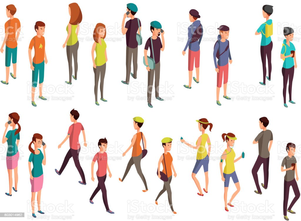 Isometric 3d people. Young casual persons vector set vector art illustration