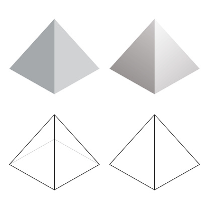 Isometric 3d Pyramid Triangle Shapes Vector Illustration