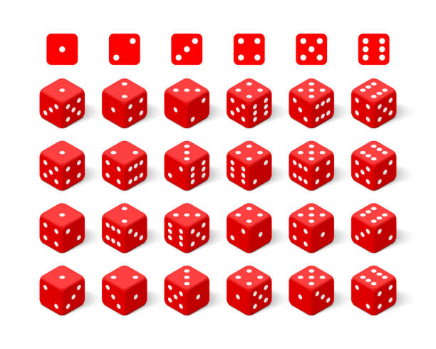 isometric 3d red dice set - dice stock illustrations, clip art, cartoons, & icons