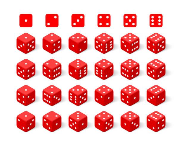 illustrazioni stock, clip art, cartoni animati e icone di tendenza di isometric 3d red dice set - gioco dei dadi