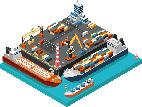 Isometric 3d seaport terminal with cargo ships, cranes and containers in harbor aerial view. Shipping industry vector concept