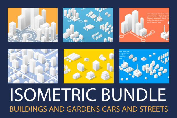 isometric 3d set for design - rzut izometryczny stock illustrations