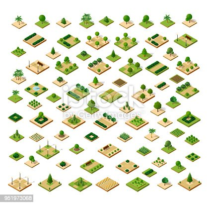 Isometric 3D set desert park with trees of a three-dimensional city