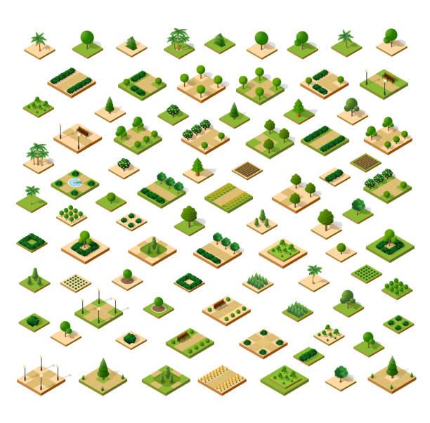 ilustraciones, imágenes clip art, dibujos animados e iconos de stock de isométrico 3d conjunto parque - proyección isométrica
