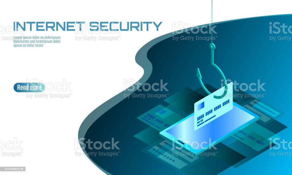 Isometric 3d Smartphone Credit Card Cvv Password Phishing Personal ...