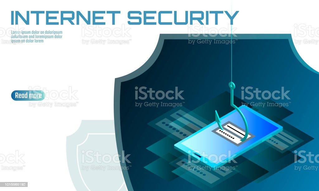 Isometric 3d Smartphone Login Password Phishing Personal Information ...