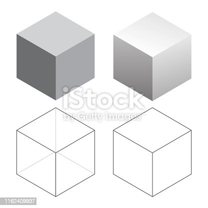 Set of four isometric 3D cubes, in solid, gradient, and wireframe, isolated vector illustration for easy editing