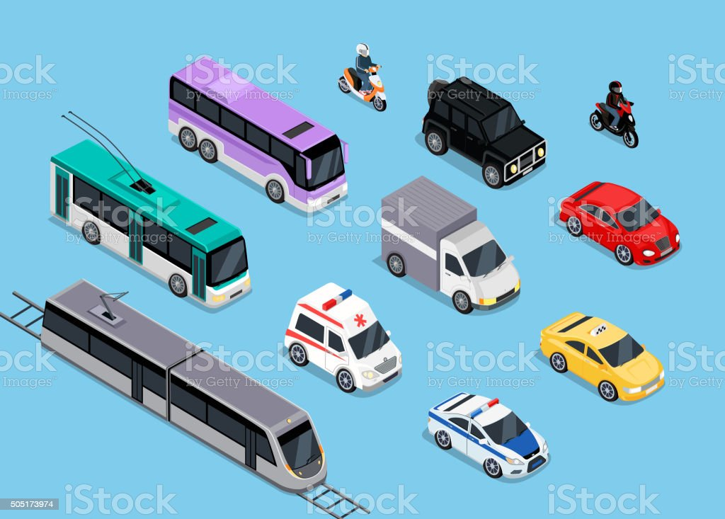 Isometric 3d Transport Set Flat Design vector art illustration
