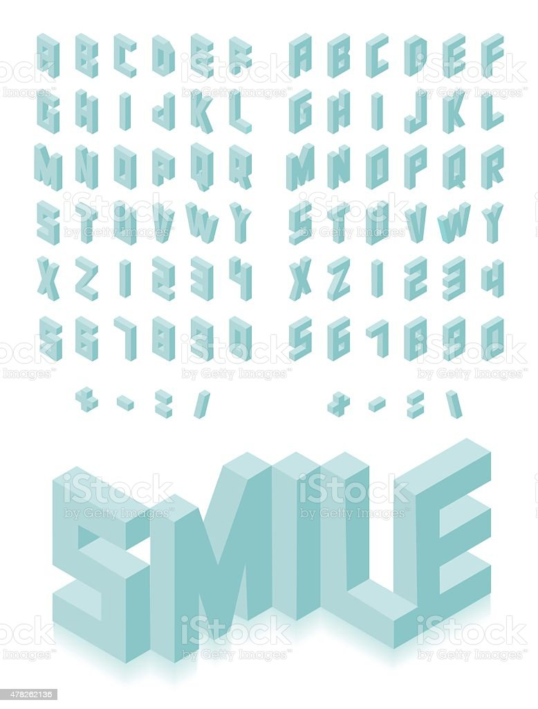 Isometric 3d type font set vector art illustration