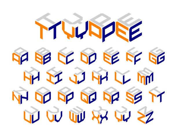 Isometric 3d type Isometric 3d type, three-dimensional alphabet. Vector illustration. alphabet designs stock illustrations