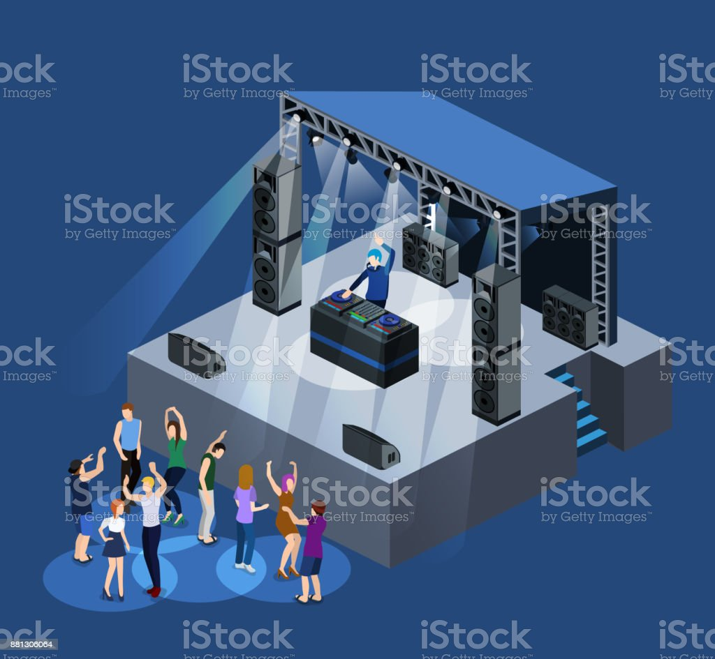 Isometric 3D Vector DJ Party On Stage Behind The Remote Control Royalty Free 3d
