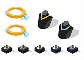 Isometric 3D vector illustration a collection of jewelry and jewelry. Gold Rings and Necklaces