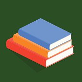 Isometric 3D vector illustration a stack of books and textbooks. Books with colored covers for education. Set of object