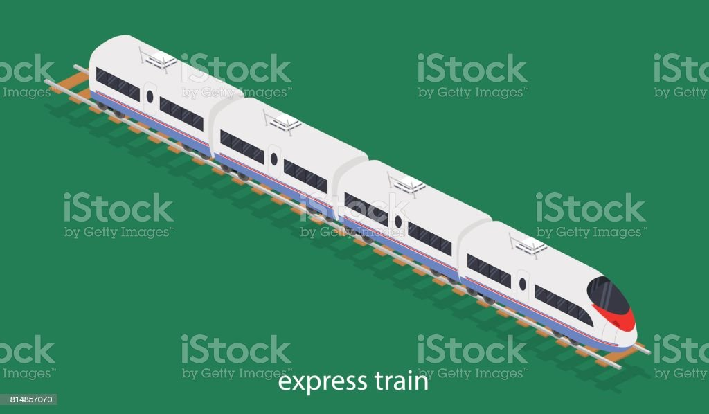 Isometric 3d Vector Illustration An Express Train On A Railway Track