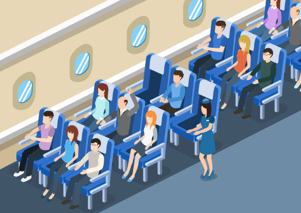 Isometric 3D vector illustration board of the aircraft from the inside with passengers and stewardess Isometric 3D vector illustration board of the aircraft from the inside with passengers and stewardess passenger stock illustrations