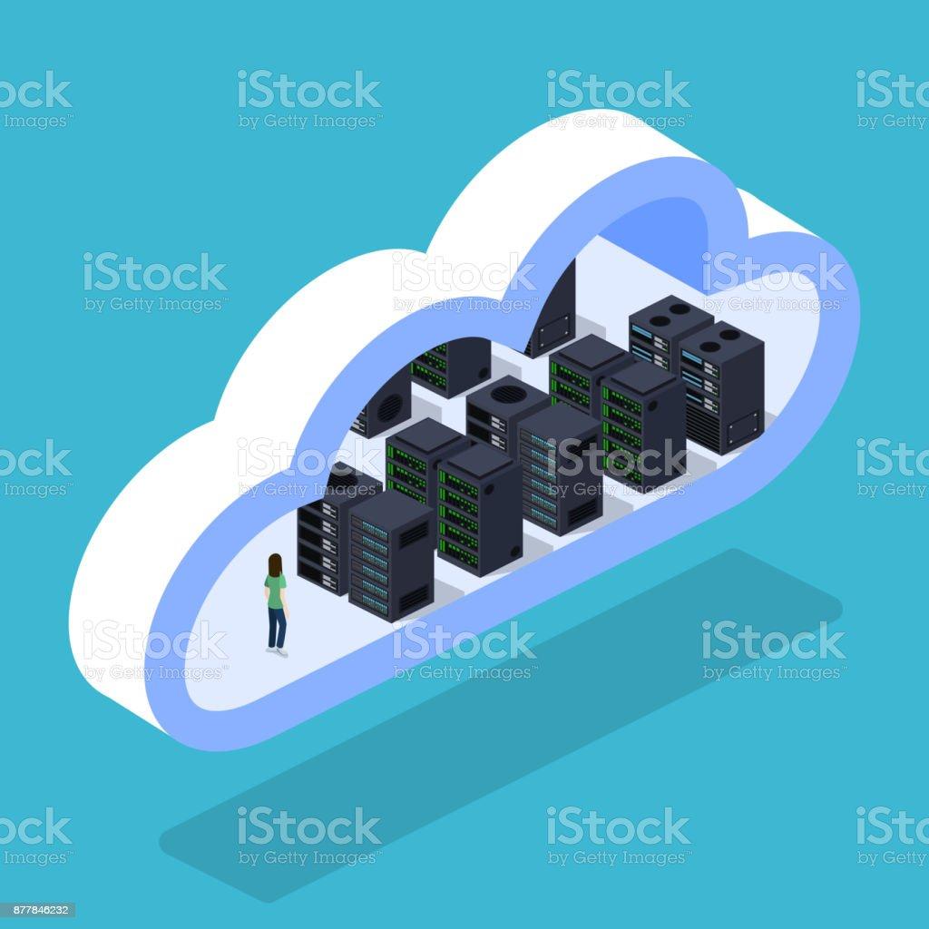 Isometric 3D vector illustration cloud servers for data processing vector art illustration