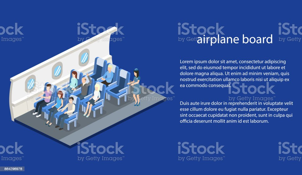 Isometric 3D vector illustration concept interior inside the plane with passengers and stewardess royalty-free isometric 3d vector illustration concept interior inside the plane with passengers and stewardess stock vector art & more images of abstract