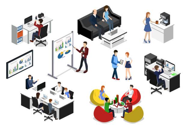 isometrischen 3d vektor illustration konzept satz von objekten für die erstellung eines business-center oder büro - reisebüro stock-grafiken, -clipart, -cartoons und -symbole
