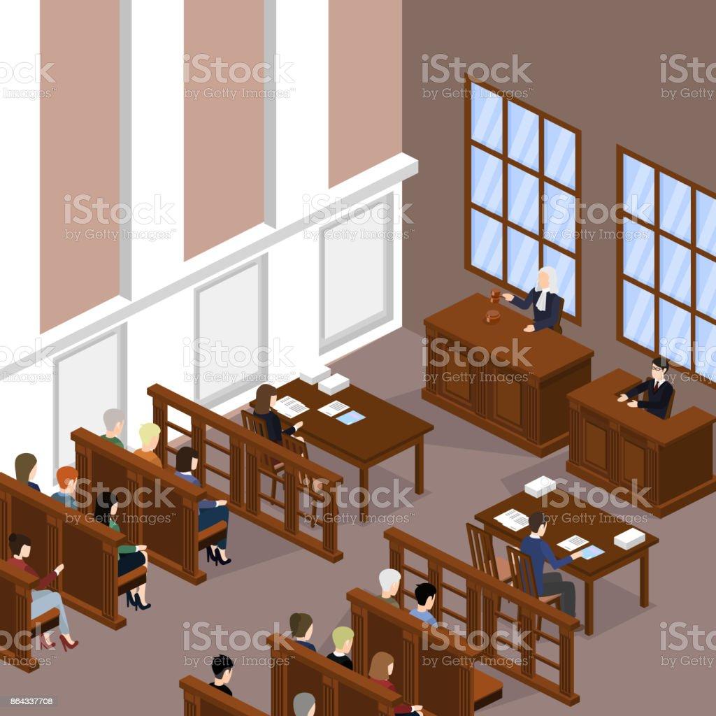Conceito de ilustração vetorial 3D isométrica o juiz realiza o julgamento. - ilustração de arte em vetor