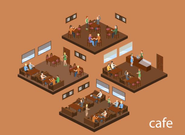 Isometric 3D vector illustration design interior coffee shop, coffee shop with waitresses and visitors Isometric 3D vector illustration design interior coffee shop, coffee shop with waitresses and visitors cartable stock illustrations