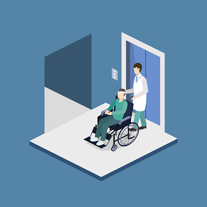 Isometric 3D vector illustration doctor with a patient on a wheelchair came out of the elevator