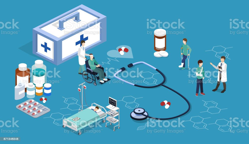 Isometrische 3D vector illustratie artsen verzorgen hun patiënten.vectorkunst illustratie