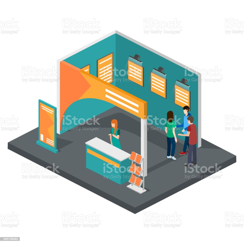 Exhibition Stand Free Vector : Isometric 3d vector illustration expo stand exhibition with people