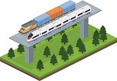 Isometric 3D vector illustration freight train and an express train on a railway track and bridge