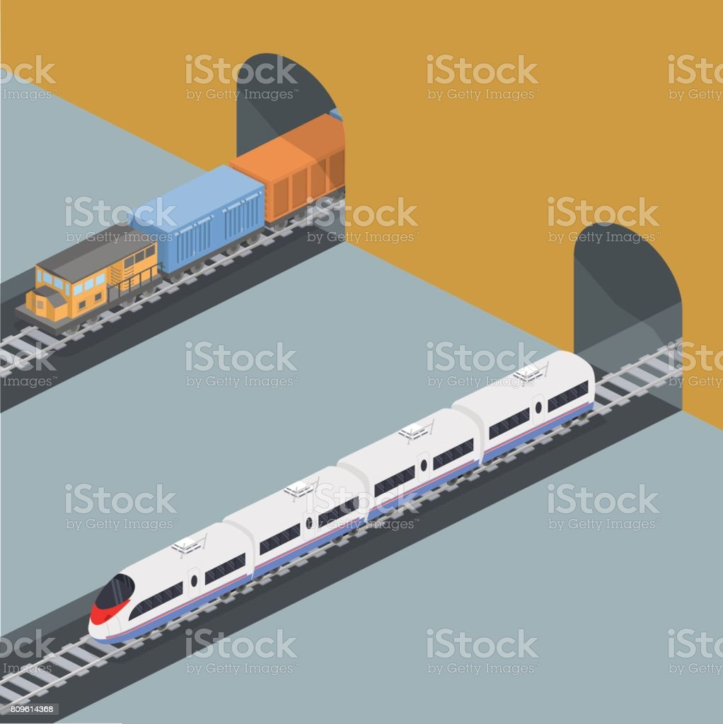 Isometric 3D vector illustration freight train and an express train on a railway track metro subway station vector art illustration