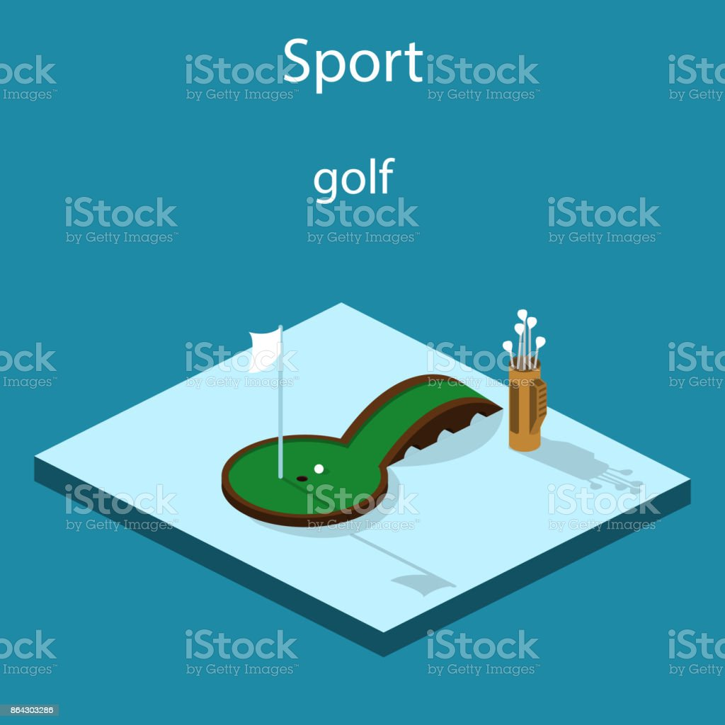 Isometric 3D vector illustration golf course with a ball and a golf bag royalty-free isometric 3d vector illustration golf course with a ball and a golf bag stock vector art & more images of abstract