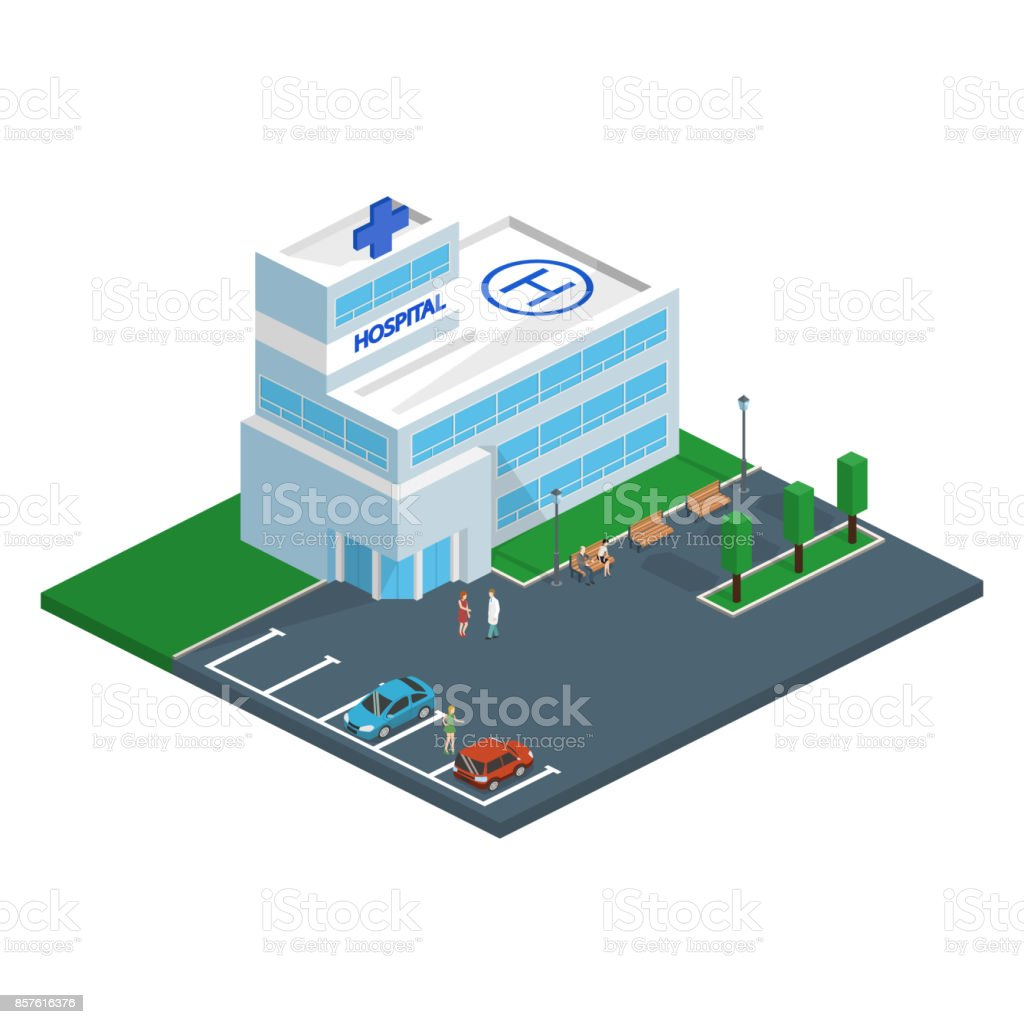 Isometric 3D vector illustration Hospital building and ambulance with parking spaces and park with benches vector art illustration