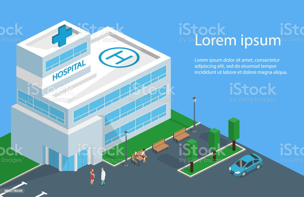 Isometric 3D vector illustration Hospital building and ambulance with parking spaces and park with benches royalty-free isometric 3d vector illustration hospital building and ambulance with parking spaces and park with benches stock vector art & more images of abstract