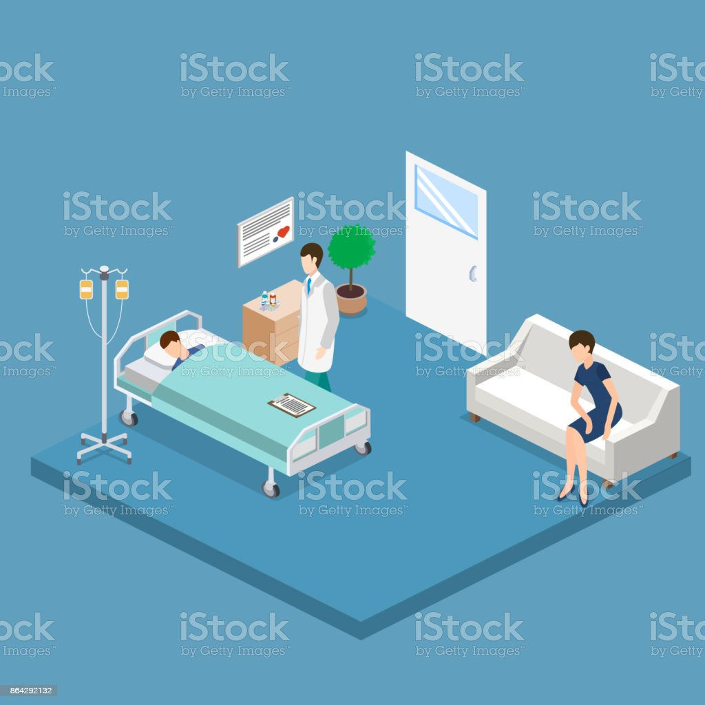 Isometric 3D vector illustration interior of hospital room with patient and doctor. royalty-free isometric 3d vector illustration interior of hospital room with patient and doctor stock vector art & more images of abstract