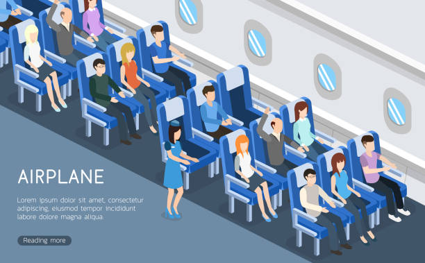 Isometric 3D vector illustration interior plane with passengers for landing page Isometric 3D vector illustration interior plane with passengers for landing page airport clipart stock illustrations