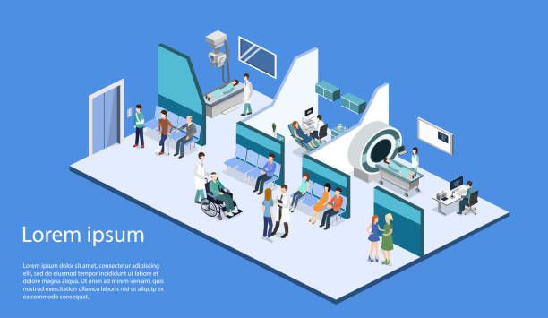Isometric 3D vector illustration patients waiting to go to the doctor's office Isometric 3D vector illustration patients waiting room for a doctor. Department of Gynecology, MRI and X-ray room radiology stock illustrations