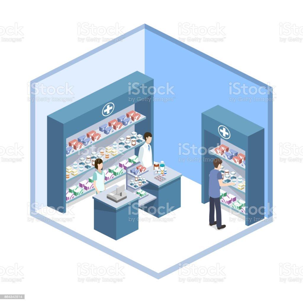 Isometrische 3D vector illustratie apotheek winkel met klantenvectorkunst illustratie