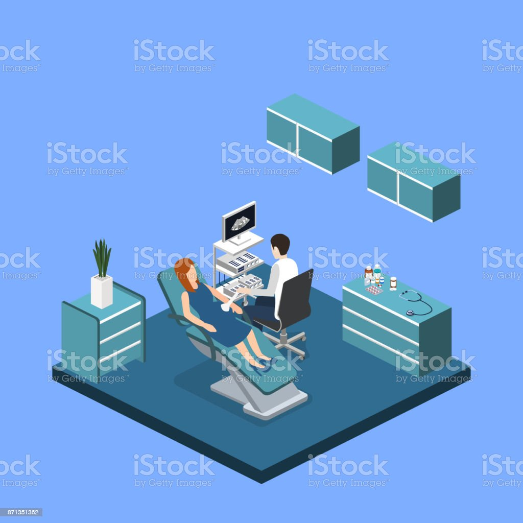 Isometric 3D vector illustration pregnant woman at a doctor's appointment vector art illustration