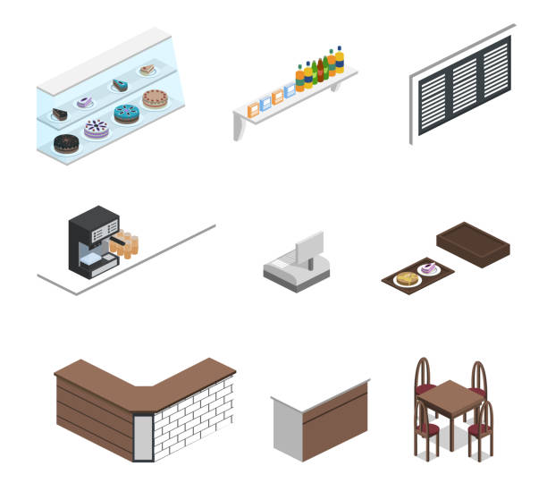 Isometric 3D vector illustration set of object for making coffee shop or canteen Isometric 3D vector illustration set of object for making coffee shop or canteen cartable stock illustrations