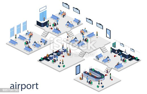 istock Isometric 3D vector illustration set people at the airport with luggage and waiting for the plane 935708730
